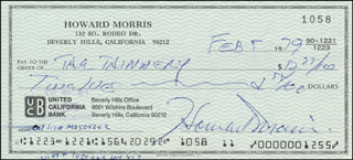 HOWARD MORRIS - AUTOGRAPHED SIGNED CHECK 02/05/1979