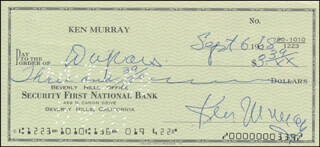 KEN MURRAY - AUTOGRAPHED SIGNED CHECK 09/06/1968