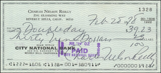 CHARLES NELSON REILLY - AUTOGRAPHED SIGNED CHECK 02/28/1978