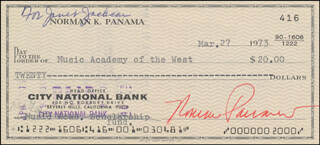 NORMAN PANAMA - AUTOGRAPHED SIGNED CHECK 03/27/1973