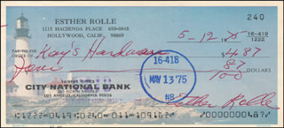 ESTHER ROLLE - AUTOGRAPHED SIGNED CHECK 05/12/1975