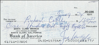 JERRY VAN DYKE - AUTOGRAPHED SIGNED CHECK 06/09/1974