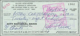 KAYE STEVENS - AUTOGRAPHED SIGNED CHECK 09/10/1979