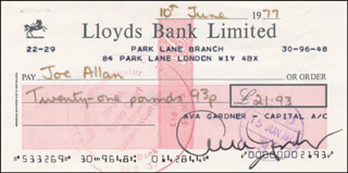 AVA GARDNER - AUTOGRAPHED SIGNED CHECK 06/10/1977