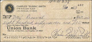 BUBBA (CHARLES) SMITH - AUTOGRAPHED SIGNED CHECK 08/10/1983