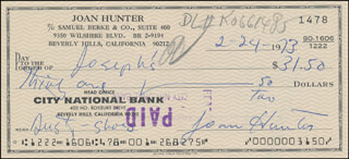JOAN DUSTY BARTLETT HUNTER - AUTOGRAPHED SIGNED CHECK 02/24/1973