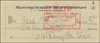 CAROL DEMPSTER - CHECK SIGNED & ENDORSED 06/07/1961