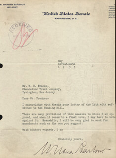 Autographs: W. WARREN BARBOUR - TYPED LETTER SIGNED 05/17/1935