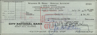 BILL BIXBY - AUTOGRAPHED SIGNED CHECK 07/24/1970