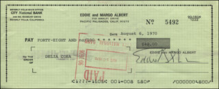 EDDIE ALBERT - AUTOGRAPHED SIGNED CHECK 08/06/1970