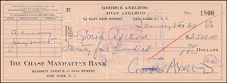 GEORGE AXELROD - CHECK SIGNED & ENDORSED 01/25/1960 CO-SIGNED BY: GLORIA AXELROD