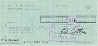 RED BUTTONS - AUTOGRAPHED SIGNED CHECK 06/19/1973