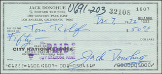 JACK DONOHUE - AUTOGRAPHED SIGNED CHECK 12/07/1972