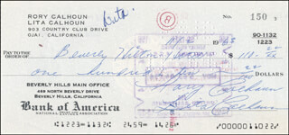 RORY CALHOUN - AUTOGRAPHED SIGNED CHECK 11/02/1963 CO-SIGNED BY: LITA BARON CALHOUN