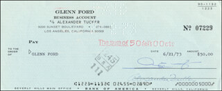 Autographs: GLENN FORD - CHECK SIGNED & ENDORSED 06/21/1973