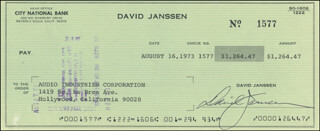 DAVID JANSSEN - AUTOGRAPHED SIGNED CHECK 08/16/1973