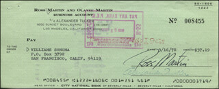 ROSS MARTIN - AUTOGRAPHED SIGNED CHECK 03/16/1978