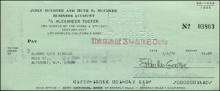 JOHN McGIVER - AUTOGRAPHED SIGNED CHECK 03/04/1970
