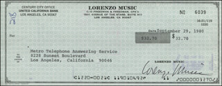 LORENZO MUSIC - AUTOGRAPHED SIGNED CHECK 09/29/1980