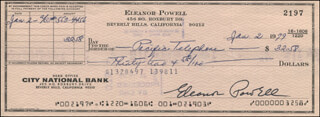 ELEANOR POWELL - AUTOGRAPHED SIGNED CHECK 01/02/1979