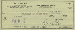 DINAH SHORE - AUTOGRAPHED SIGNED CHECK 08/12/1974