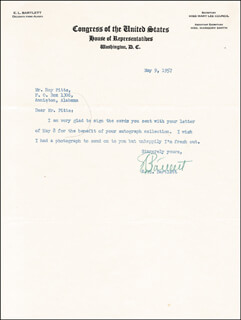Autographs: EDWARD L. BOB BARTLETT - TYPED NOTE SIGNED 05/09/1957