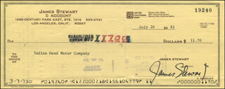 JAMES JIMMY STEWART - AUTOGRAPHED SIGNED CHECK 07/20/1981