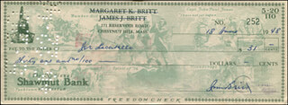 Autographs: JIM BRITT - CHECK SIGNED 06/18/1948