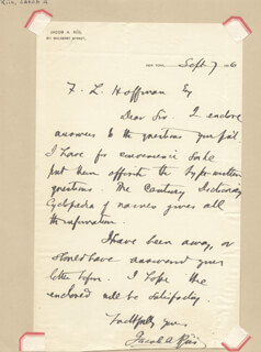 JACOB AUGUST RIIS - AUTOGRAPH LETTER SIGNED 09/07/1896