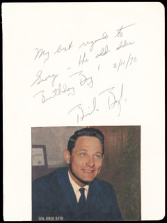 Autographs: BIRCH BAYH - AUTOGRAPH NOTE SIGNED 02/11/1970