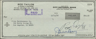 ROD TAYLOR - AUTOGRAPHED SIGNED CHECK 12/13/1976