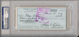 HARMON KILLEBREW - AUTOGRAPHED SIGNED CHECK 12/31/1980 CO-SIGNED BY: ELAINE KILLEBREW