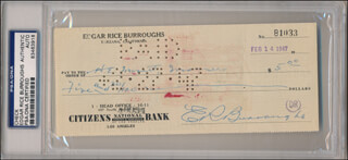 EDGAR RICE BURROUGHS - AUTOGRAPHED SIGNED CHECK 02/14/1947