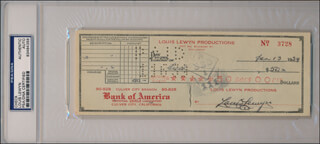 LOUIS LEWYN - AUTOGRAPHED SIGNED CHECK 01/13/1939
