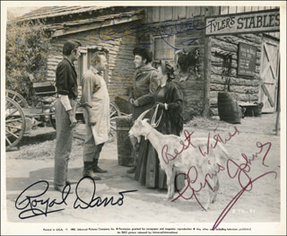 Autographs: ALL MINE TO GIVE MOVIE CAST - PHOTOGRAPH SIGNED CO-SIGNED BY: CAMERON MITCHELL, GLYNIS JOHNS, ROYAL DANO