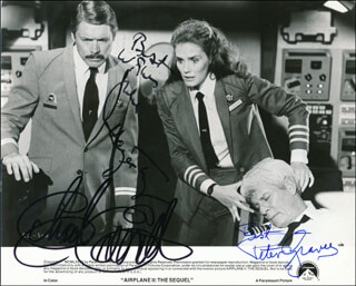 AIRPLANE II: THE SEQUEL MOVIE CAST - PRINTED PHOTOGRAPH SIGNED IN INK CO-SIGNED BY: PETER GRAVES, CHAD EVERETT, JULIE HAGERTY