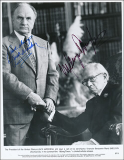 BEING THERE MOVIE CAST - PRINTED PHOTOGRAPH SIGNED IN INK CO-SIGNED BY: JACK WARDEN, MELVYN DOUGLAS