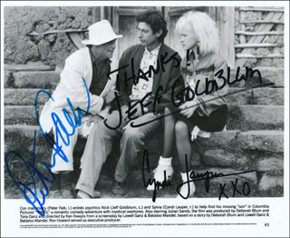 VIBES MOVIE CAST - PRINTED PHOTOGRAPH SIGNED IN INK CO-SIGNED BY: PETER FALK, JEFF GOLDBLUM, CYNDI LAUPER