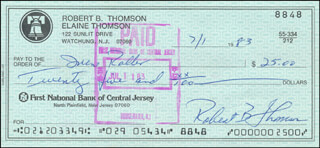 BOBBY THOMSON - AUTOGRAPHED SIGNED CHECK 07/01/1983