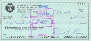 BOBBY THOMSON - AUTOGRAPHED SIGNED CHECK 06/13/1983 CO-SIGNED BY: MEGAN THOMSON ARMSTRONG