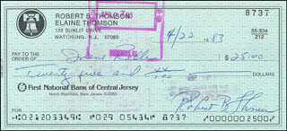 BOBBY THOMSON - AUTOGRAPHED SIGNED CHECK 04/22/1983