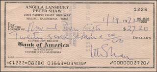 PETER SHAW - AUTOGRAPHED SIGNED CHECK 01/19/1972