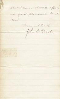 BRIGADIER GENERAL JOHN C. BLACK - MANUSCRIPT LETTER SIGNED 03/10/1886