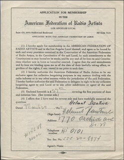 HELMUT DANTINE - APPLICATION SIGNED 03/29/1945