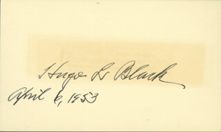 Autographs: ASSOCIATE JUSTICE HUGO L. BLACK - SIGNATURE(S) 04/06/1953