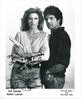 THE LAST RIDERS MOVIE CAST - INSCRIBED PRINTED PHOTOGRAPH SIGNED IN INK CO-SIGNED BY: ERIK ESTRADA, KATHRIN LAUTNER