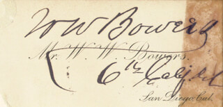 Autographs: WILLIAM W. BOWERS - BUSINESS CARD SIGNED