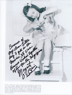 MARGARET O'BRIEN - AUTOGRAPH NOTE ON PRINTED PHOTOGRAPH SIGNED IN INK