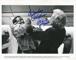 PASSENGER 57 MOVIE CAST - PRINTED PHOTOGRAPH SIGNED IN INK CO-SIGNED BY: WESLEY SNIPES, BRUCE PAYNE
