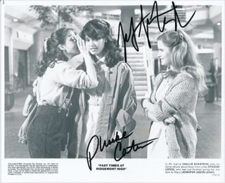 FAST TIMES AT RIDGEMONT HIGH MOVIE CAST - PRINTED PHOTOGRAPH SIGNED IN INK CO-SIGNED BY: PHOEBE CATES, JENNIFER JASON LEIGH